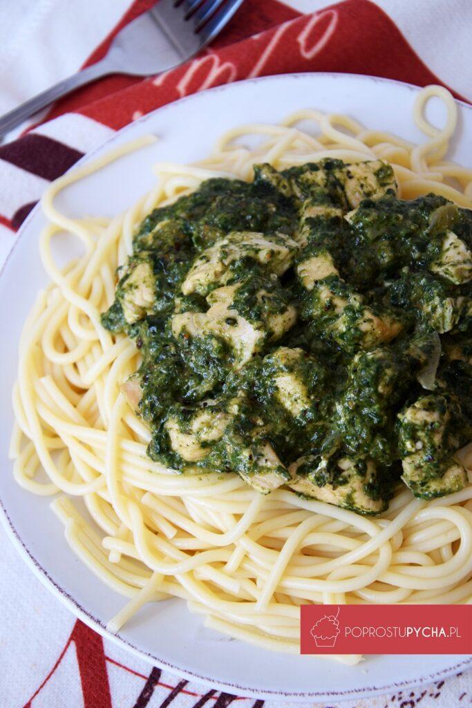 Spaghetti szpinakowe zkurczakiem