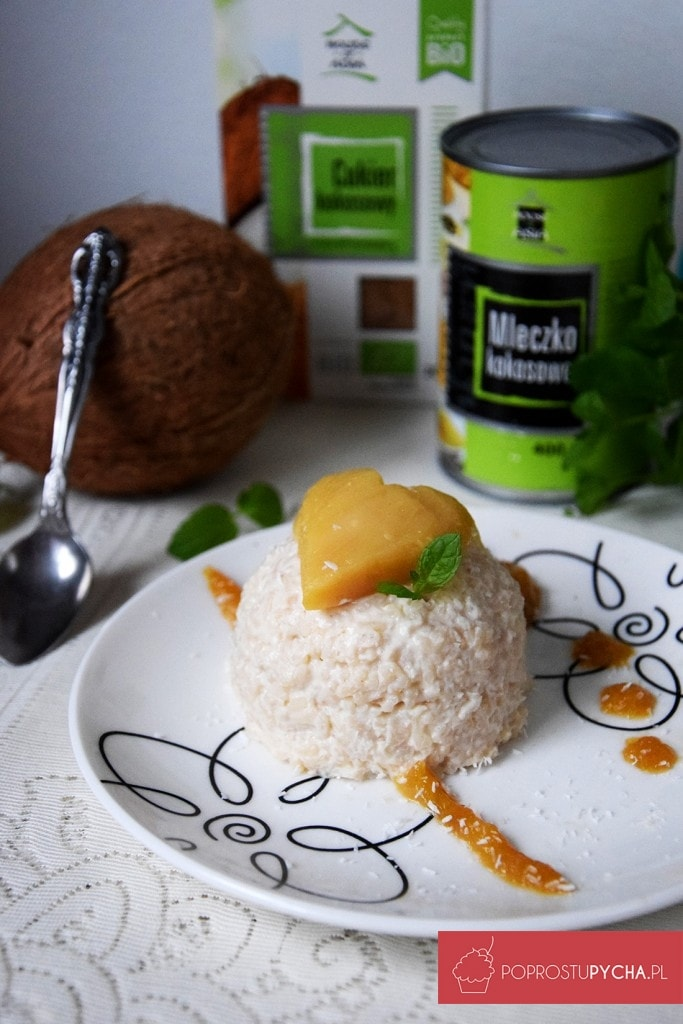 Orientalny deser ryżowo-kokosowy zmango