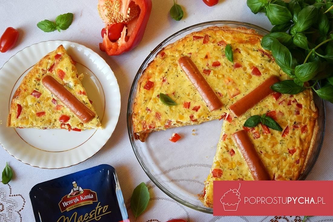 Tarta warzywno-serowa z parówkami