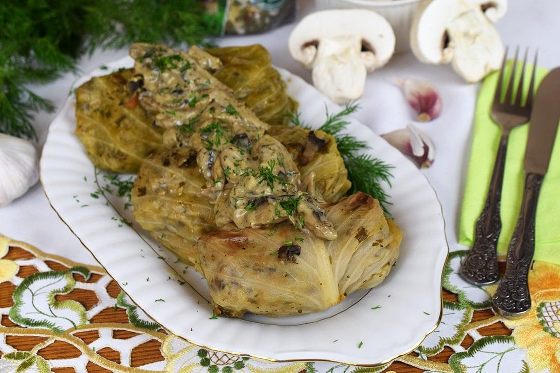 Gołąbki z grzybowym risotto